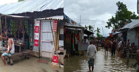 জোয়ারে প্লাবিত রামগতি-কমলনগরের উপকূলীয় এলাকা